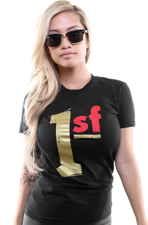 One SF (Women's Black/Gold Tee)