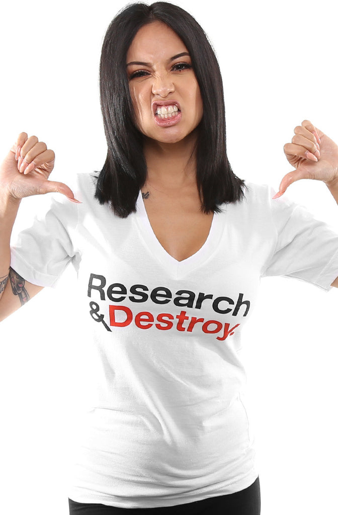 Research & Destroy (Women's White/Red V-Neck)