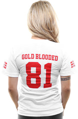 Gold Blooded Legends :: 81 (Women's White V-Neck)