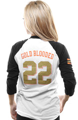Gold Blooded Kings :: 22 (Women's White/Black Raglan Tee)