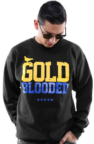 GOLD BLOODED Men's Black/Royal Crewneck Sweatshirt