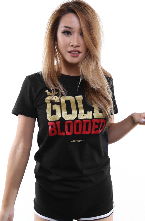 GOLD BLOODED Women's Black/Gold Tee