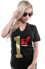 One SF (Women's Black/Gold V-Neck)
