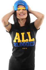 All Blooded (Women's Black/Royal Tee)