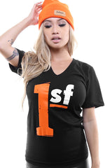 One SF (Women's Black/Orange V-Neck)