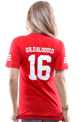 Gold Blooded Legends :: 16 (Women's Red V-Neck)