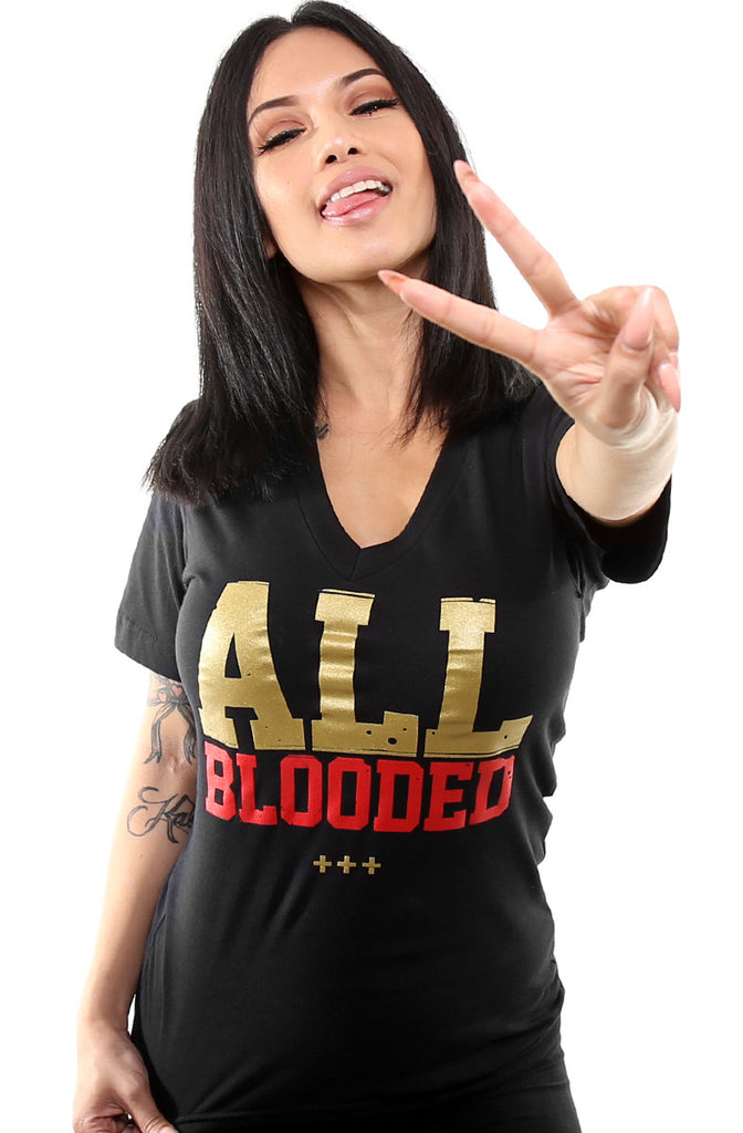 All Blooded (Women's Black/Red V-Neck)