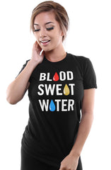 Blood Sweat & Water :: Thailand Water Project (Women's Black Tee)