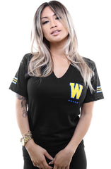 Gold Blooded Royalty :: 30 (Women's Black V-Neck)