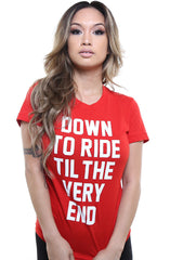 Breezy Excursion X Adapt :: Down To Ride (Bonnie) XXOO Edition (Women's Red/White Tee)