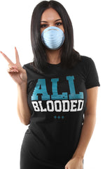 All Blooded (Women's Black/Teal Tee)