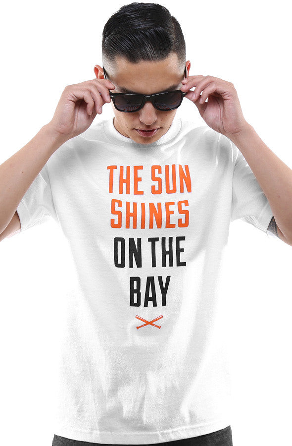 The Sun Shines On The Bay (Men's White/Orange Tee)