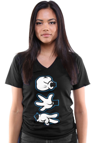 Booger Kids X Adapt :: Rock Paper Cut (Women's Black/Teal V-Neck)