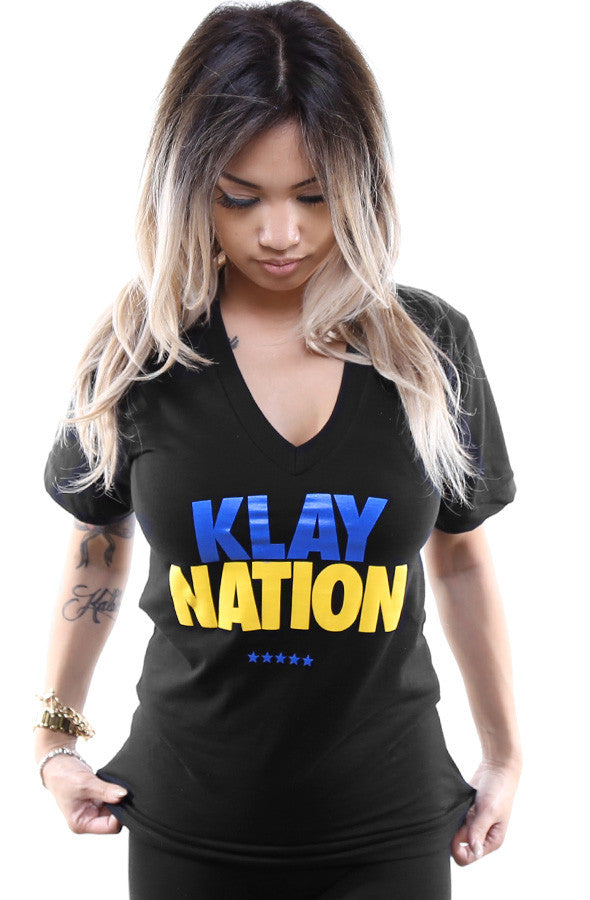 Klay Nation (Women's Black V-Neck)