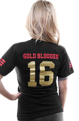 Gold Blooded Legends :: 16 (Women's Black/Gold V-Neck)