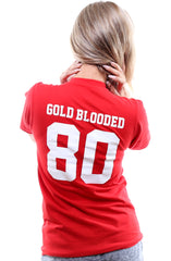 Gold Blooded Legends :: 80 (Women's Red V-Neck)