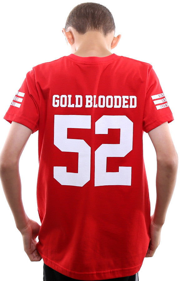 Gold Blooded Legends :: 52 (Youth Unisex Red Tee)