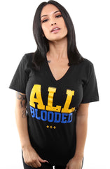 All Blooded (Women's Black/Royal V-Neck)