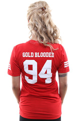 Gold Blooded Legends :: 94 (Women's Red V-Neck)