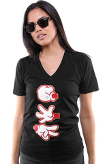 Booger Kids X Adapt :: Rock Paper Cut (Women's Black/Red V-Neck)