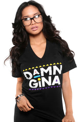 Damn Gina (Women's Black V-Neck)