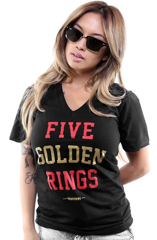 Five Golden Rings (Women's Black V-Neck)