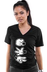 Booger Kids X Adapt :: Rock Paper Cut (Women's Black/White V-Neck)