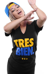 Tres Bien (Women's Black V-Neck)