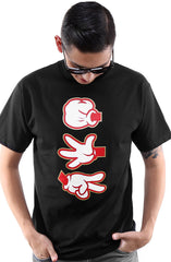 Booger Kids X Adapt :: Rock Paper Cut (Men's Black/Red Tee)
