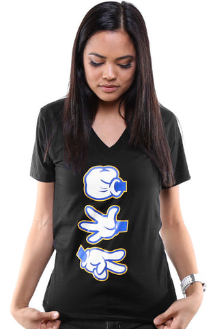 Booger Kids X Adapt :: Rock Paper Cut (Women's Black/Royal V-Neck)