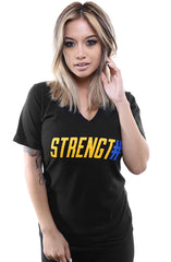 Strength In Numbers (Women's Black V-Neck)