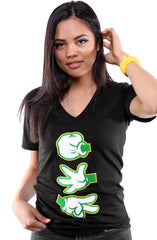 Booger Kids X Adapt :: Rock Paper Cut (Women's Black/Green V-Neck)