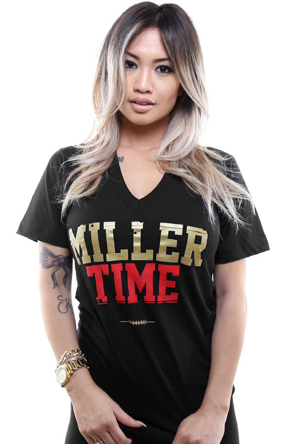 Bruce Miller X Adapt :: Miller Time (Women's Black V-Neck)