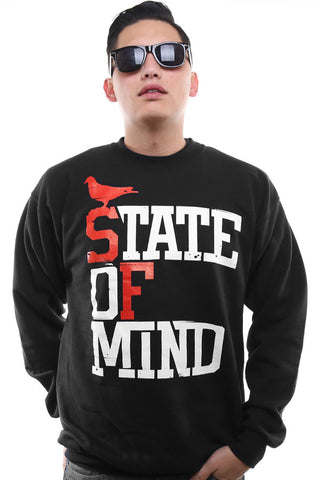 State of Mind (Men's Black/Red Crewneck Sweatshirt)