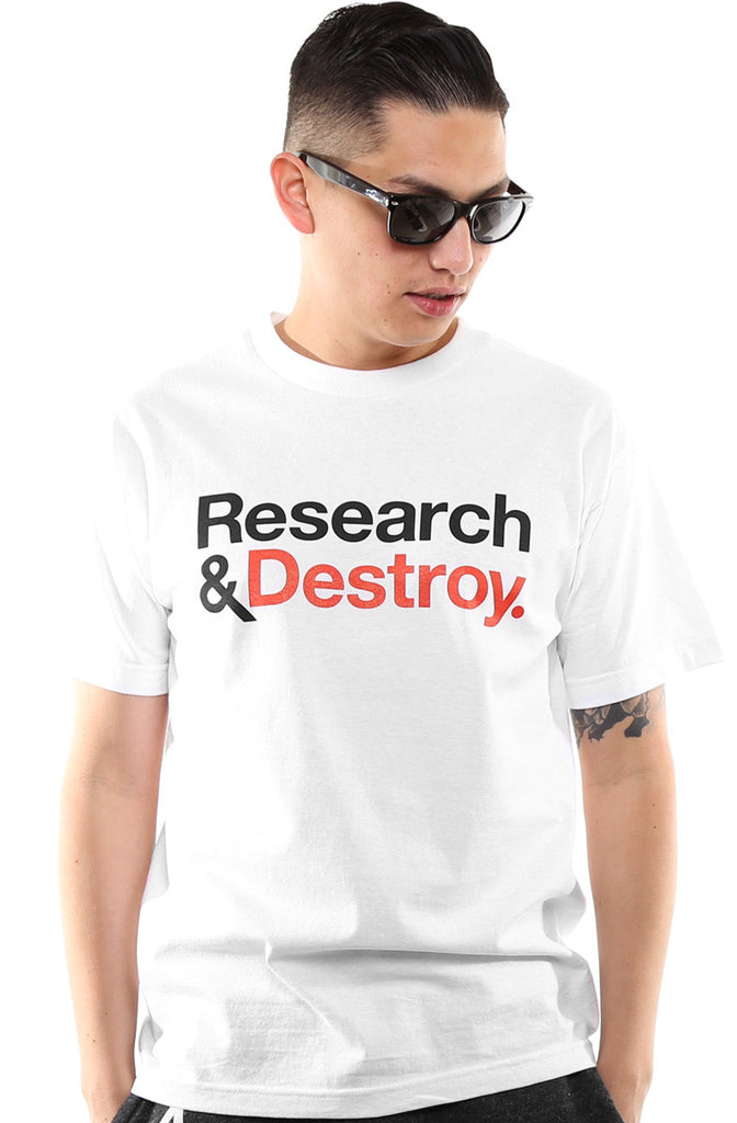 Research & Destroy (Men's White/Red Tee)