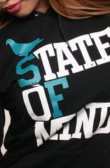 State of Mind (Women's Black/Teal Hoody)