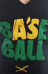 Baseball (Women's Black V-Neck)