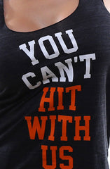 You Can't Hit (Women's Black/Orange Racerback Tank)