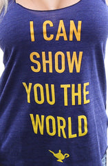 I Can Show You The World (Women's Indigo Racerback Tank)