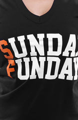 Sunday Funday (Women's Black/Orange V-Neck)