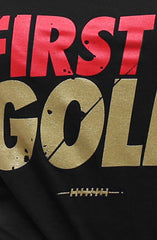 First and Gold (Women's Black V-Neck)