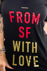 Fully Laced X Adapt :: From SF With Love (Women's Black/Gold V-Neck)