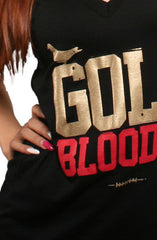 GOLD BLOODED Women's Black/Gold V-Neck