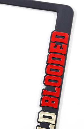 gold blooded blackred license plate frame