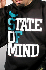 State of Mind (Men's Black/Teal Crewneck Sweatshirt)