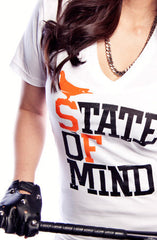 State of Mind (Women's White/Orange V-Neck)