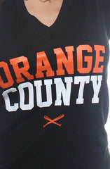 Orange County (Women's Black V-Neck)