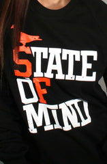 State of Mind (Women's Black/Orange Crewneck Sweatshirt)