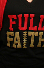 Full Faith (Women's Black/Gold V-Neck)