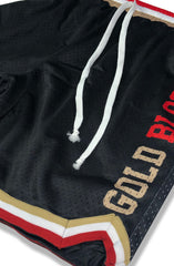 SAVS x Adapt :: Gold Blooded Chiefs (Men's Black/Red Mesh Game Shorts)
